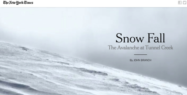 Webby Award Snow Fall (Webby Award photo)